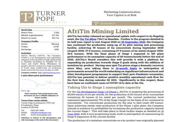 TRIN - TPI provides its latest research note on AfriTin Mining Limited (ATM.L).