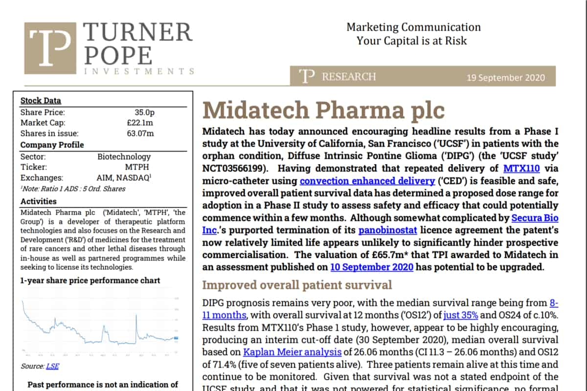 pharam - TPI provides its latest research note on Midatech Pharma plc (MTPH.L).