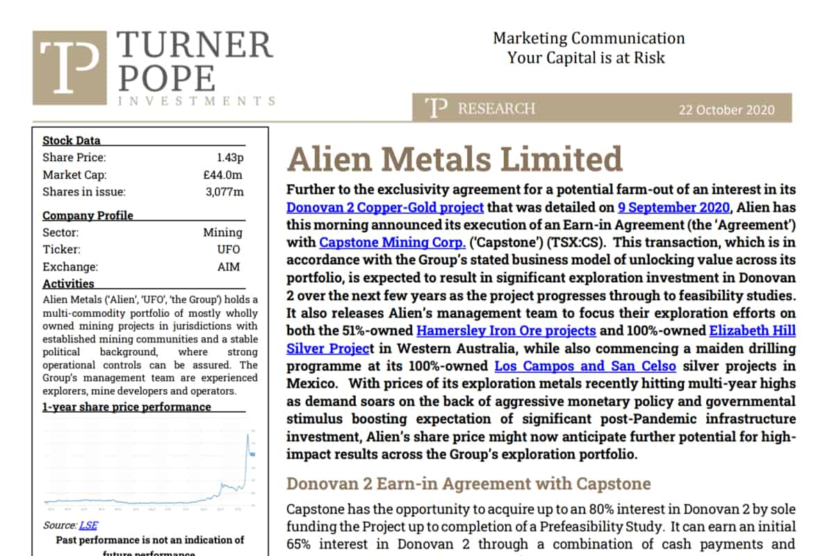 ufo 4 - TPI provides its latest research note on Alien Metals Limited (UFO.L)