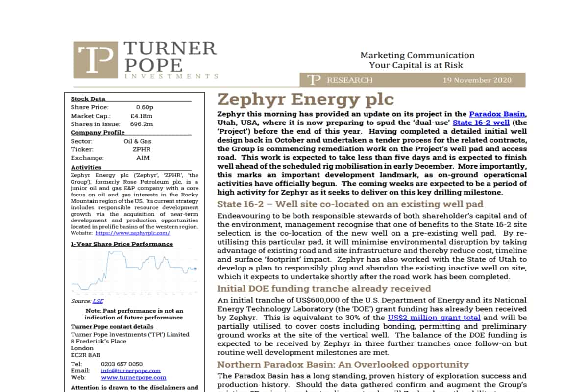OIL 1 - TPI provides its latest research note on Zephyr Energy plc (ZPHR.L).
