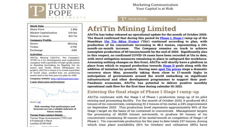 tin 750x406 - TPI provides its latest research note on AfriTin Mining Limited (ATM.L).