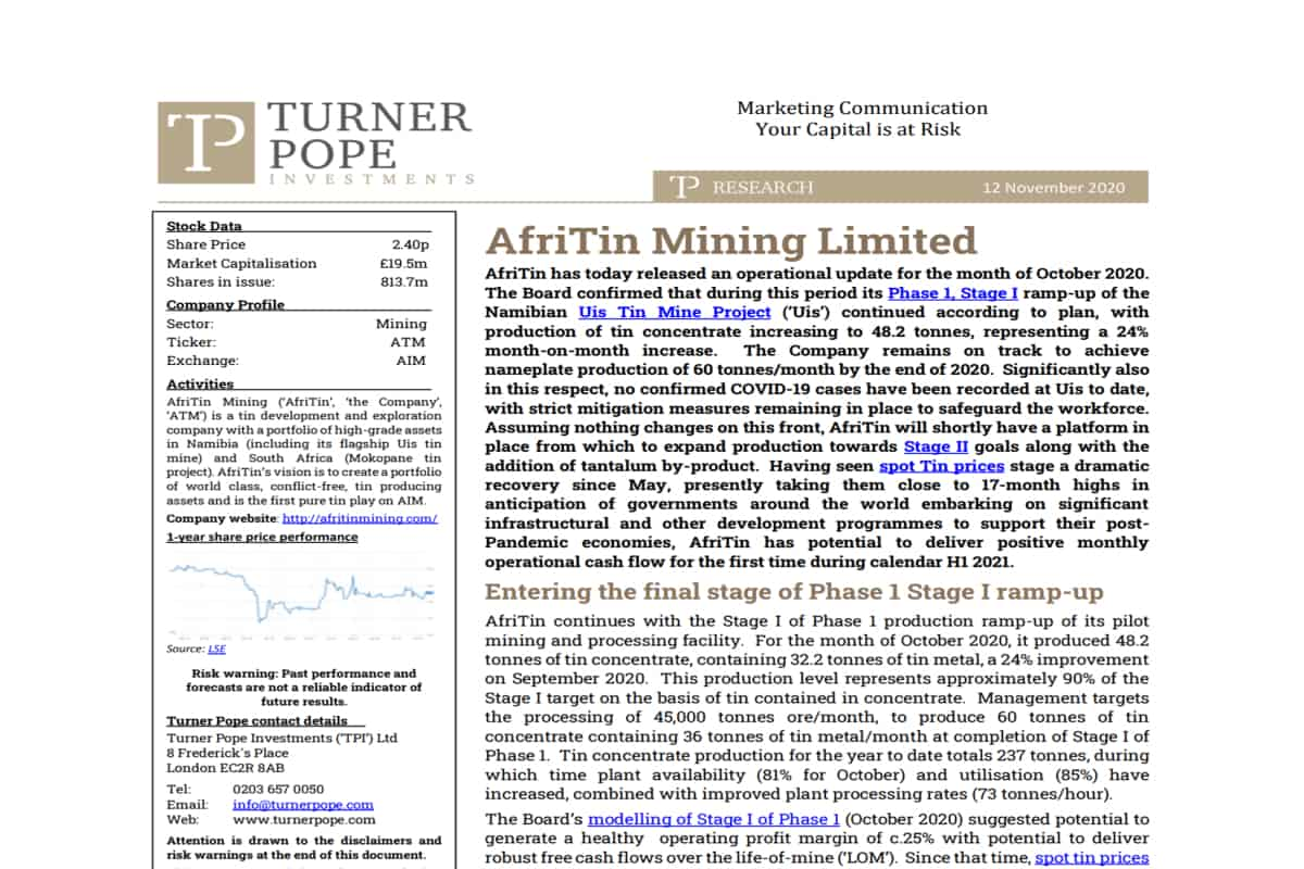 tin - TPI provides its latest research note on AfriTin Mining Limited (ATM.L).